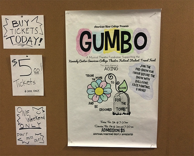 'Gumbo' is a variety theater production that will be hosted by the American River College theater program today and tomorrow. All proceeds will help students raise money to fund travel to a local competition. (Photo by Sharriyona Platt)