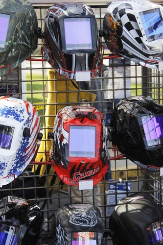 Custom painted Lincoln Electric welding masks on display at the Welding Expo on Feb.6, 2016 at American River College. The welding industry is looking for more welders and this expo was held to give opportunites to local welders. (Photos by Matthew Nobert)