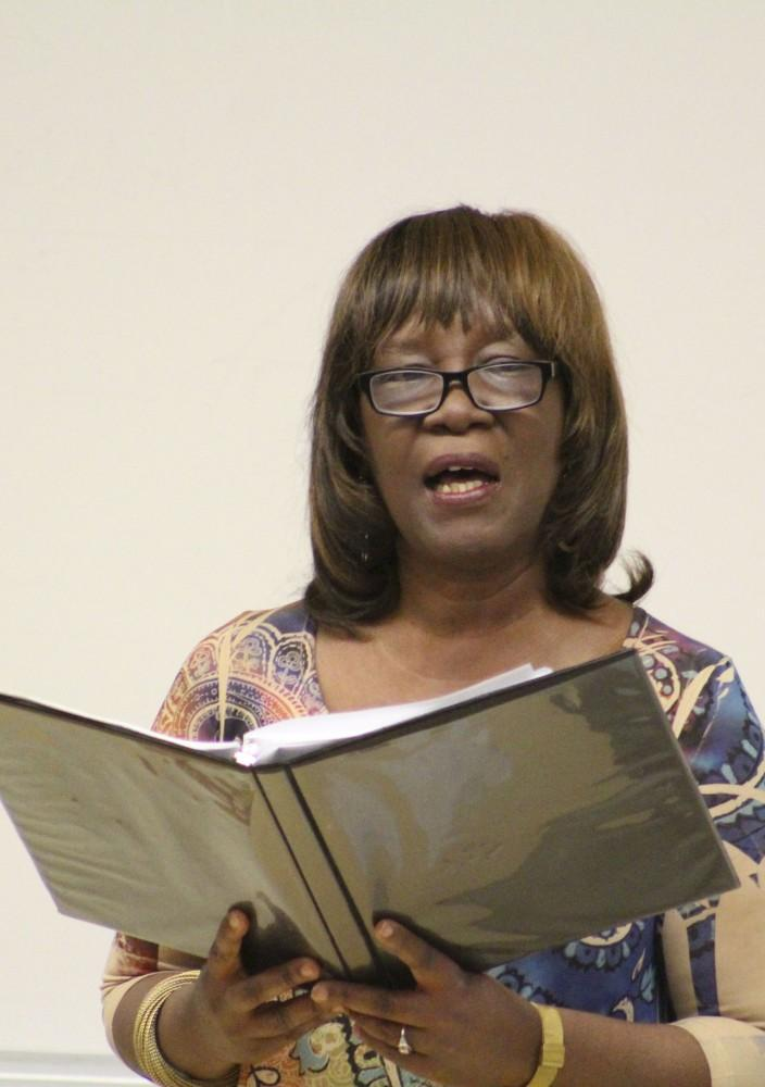 Award winning poet Patricia Smith reads her latest work with American River College students and faculty during a reading event for her poetry in Raef Hall 160 at the ARC campus on Feb 9, 2016. (Photograph by Timon Barkley)