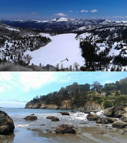 Above, Red Lake is located in the Carson Pass along Highway 88 south of Lake Tahoe. Below, Muir Beach is located north of San Francisco and is located near several trails that can eventually lead to views of the Golden Gate Bridge and Pacific Ocean. (Photos courtesy of Matthew Peirson)