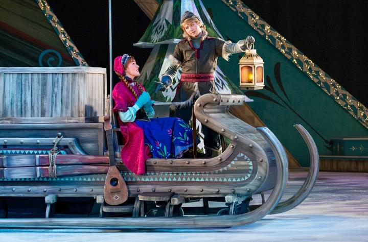 Taylor Firth (left) and Jono Partridge (right) perform as their characters Anna and Kristoff in the Disney on Ice production of 'Frozen.' The show passed through Sacramento last week. (Photo courtesy of Atherton Public Relations)