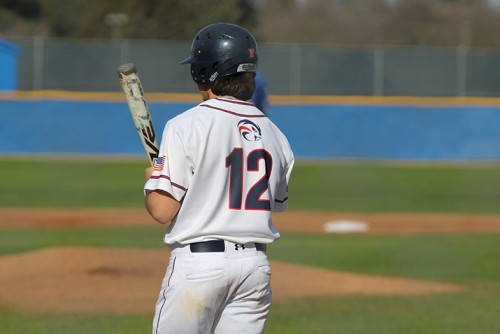 American River College SS Jared Biggs steps up to the plate against Solano College on Tuesday. ARC lost 6-5. (Photo by Mack Ervin III)