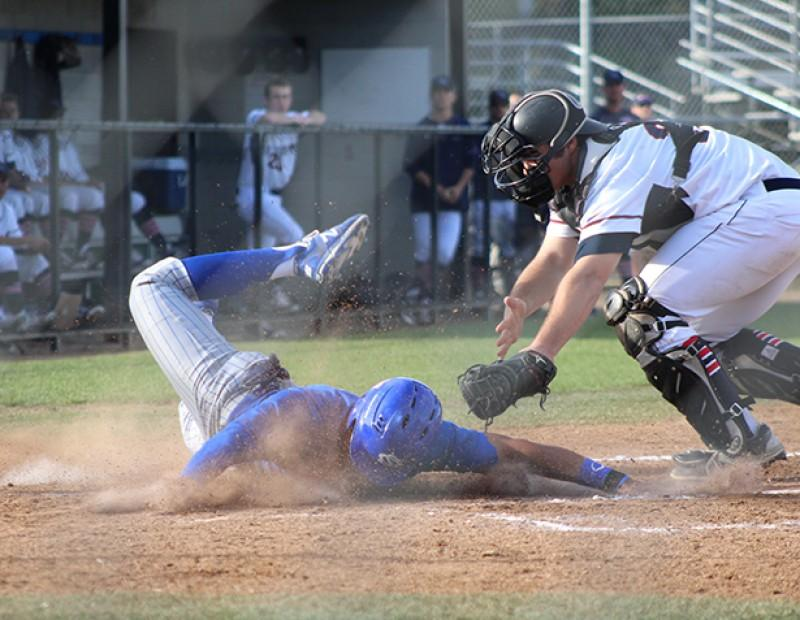 Solano 1B Evan Faccenda slides into the dirt after scoring a run against ARC on Tuesday. ARC lost 6-5. (Photo by Mack Ervin III)