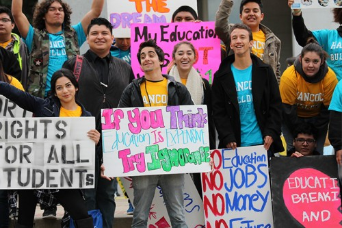 Students gather for the March in March rally in spring of last year. The rally, this year, has been cancelled by the Student Senate for California Community Colleges due to lack of funding. (File Photo)