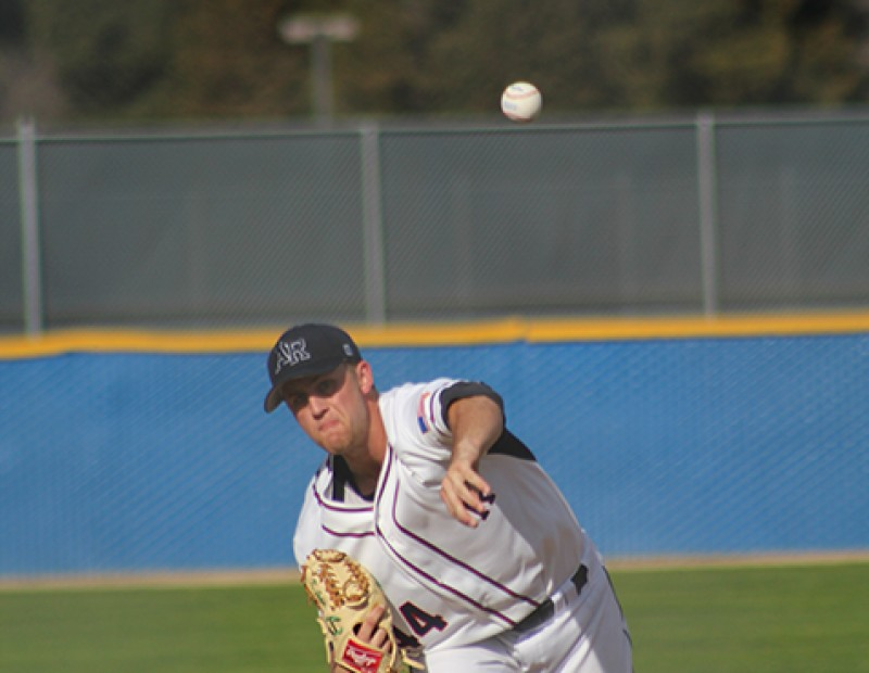 American River College P Kurt Johnson throwing a pitch against Solano College on Tuesday. ARC lost 6-5. (Photo by Mack Ervin III)