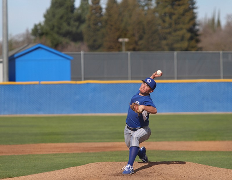 Solano P David Holster throwing a pitch against American River on Tuesday. ARC lost 6-5. (Photo by Mack Ervin III)
