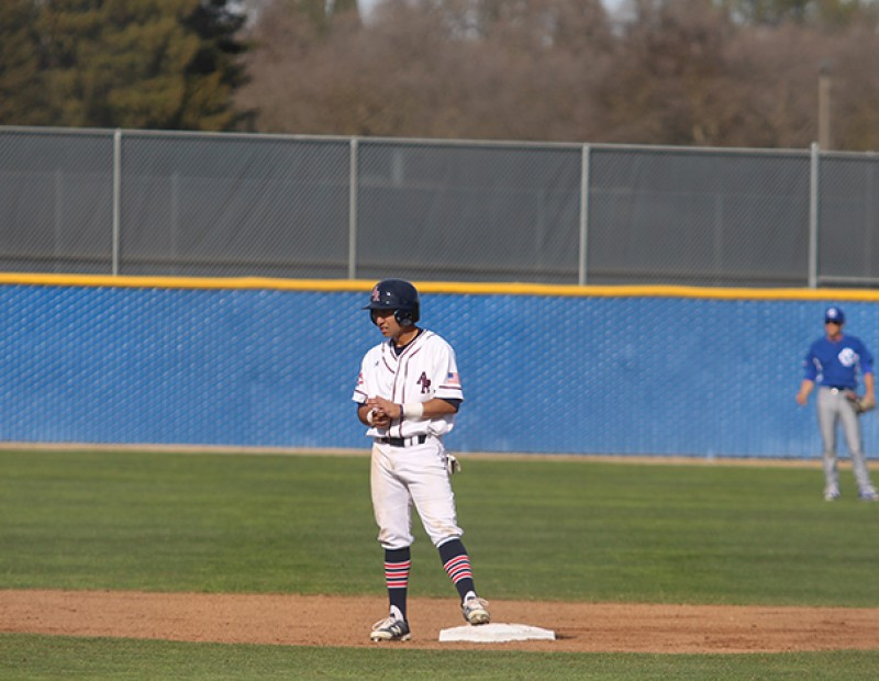 American River College 2B Robert Contreras waits at second base during a game against Solano College on Tuesday. ARC lost 6-5. (Photo by Mack Ervin III)