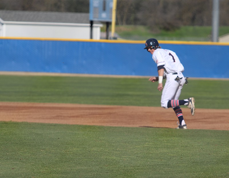 American River College OF Cade Parker attempts to steal second base during a game against Solano on Tuesday. ARC lost 6-5. (Photo by Mack Ervin III)