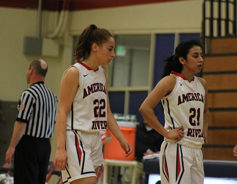 American River College guards Halle Hamre and Abigail Herrera walk off the court following their playoff game against Skyline College on Wednesday Feb. 24, 2016. ARC lost 78-59. (Photo by Mack Ervin III)