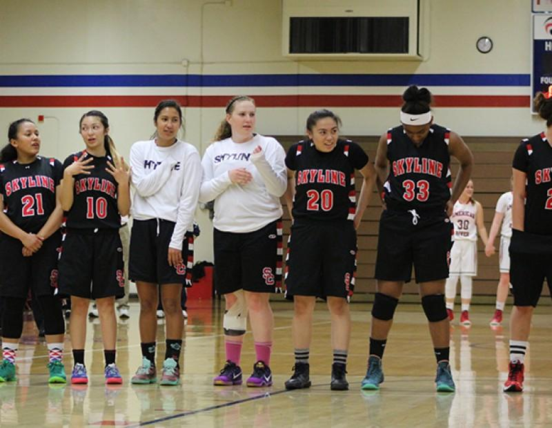 Skyline College players line up for the National Anthem before a playoff game against American River College on Wednesday Feb. 24, 2016. ARC lost 78-59. (Photo by Mack Ervin III)