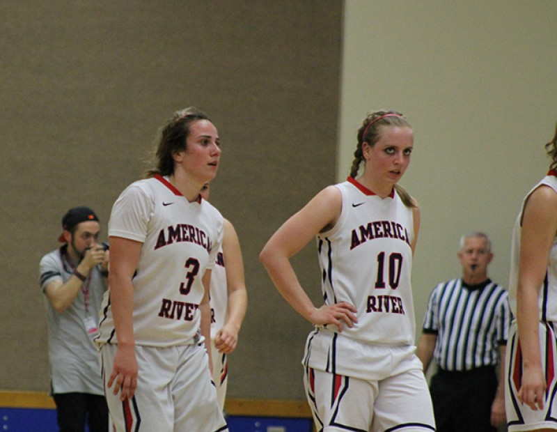 American River College guard Jennifer Manduca and forward Brie Richins walk off the court following a playoff game against Skyline College on Wednesday Feb. 24, 2016. ARC lost 78-59. (Photo by Mack Ervin III)
