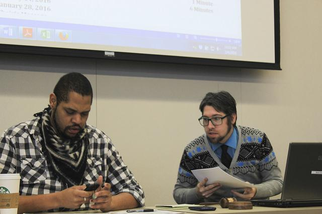 American River College Associated Student Senate members David Hylton II and Jeremy Diefenbacher both said they support Bernie Sanders in the upcoming 2016 U.S. presidential election. (Photo by Robert Hansen)