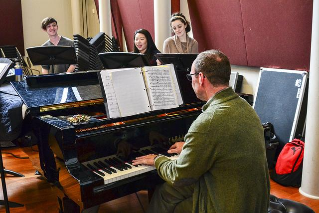 Vocal jazz ensemble students prepare for upcoming concert and yearly CD on March 9, 2016. (Photo by Joe Padilla)