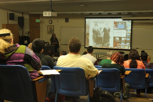 American River College hosted Celia Herrera Rodriguez at a 'Creative Connections' on Thursday that featured her paintings and illustrations. (Photo by Sharriyona Platt)