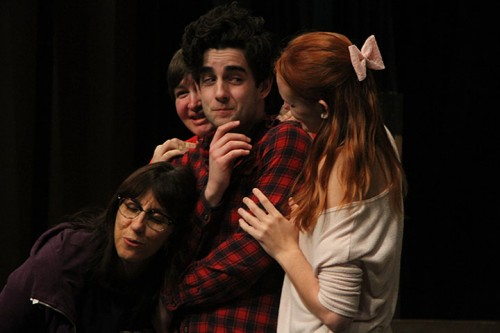 (From left to right) Sarah Townsend, Tommy Anderson, Micah Smith, and Vannah Nettel rehearse for The Foreigner.   (Photo by Timothy Lipuma)
