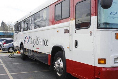 One of the two Blood Source trucks parked on the American River College campus for the Blood Drive being held March 1 and 2, 2016.   (Photo by Bailey Carpenter)
