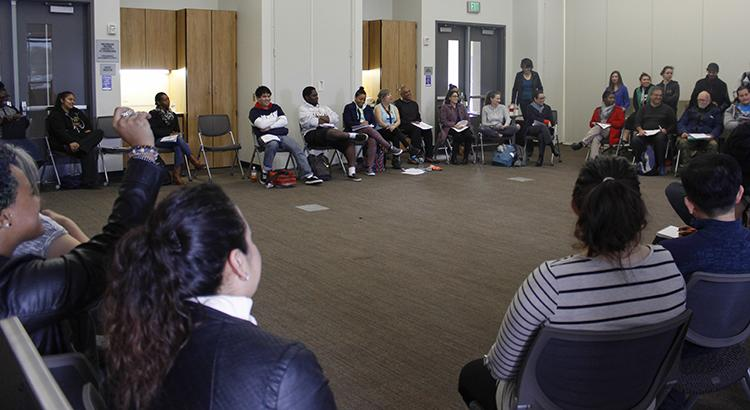 American River College students ask each other questions during the