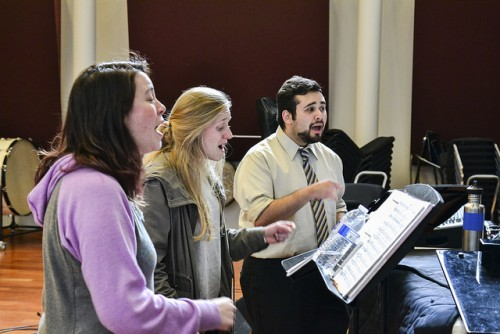 Vocal jazz ensemble students rehearse for upcoming music festival in Monterey on March 9, 2016. (Photo by Joe Padilla)