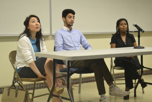 Speakers Linda Hong, Omar Mahmi, and Semira Deneka discuss their backgrounds and experiences as immigrants  during college hour on March 17. (Photo by Sharriyona Platt)