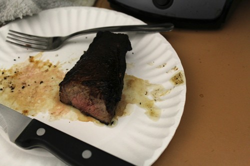 A midly burnt and mildly undercooked piece of steak briefly set off the fire alarm in Liberal Arts 152 Staff. (Photo by Mack Ervin III)