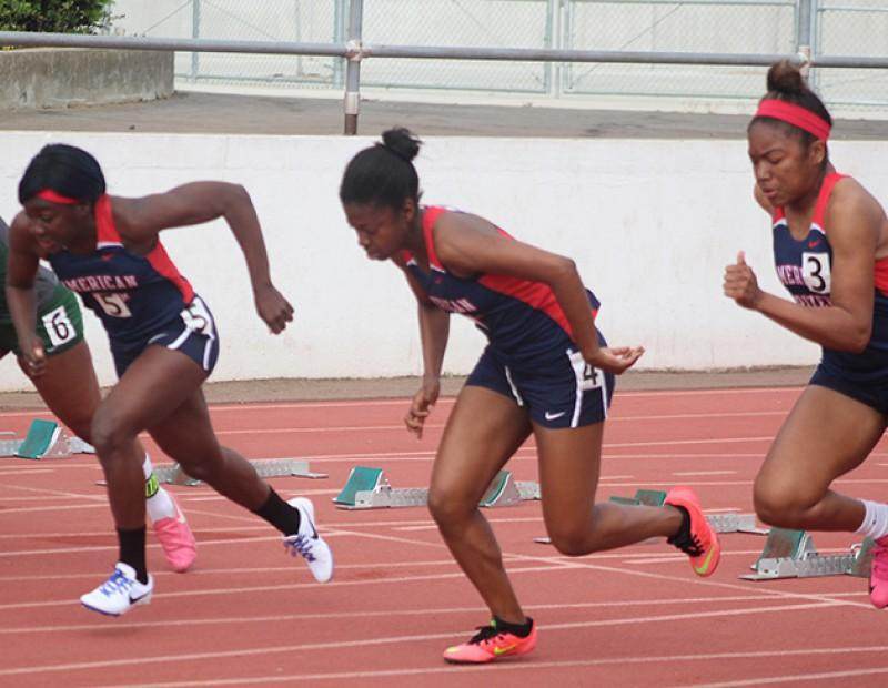 American River College runners Tatiana Bell, Kyleah Johnson, and Stevie Jones take off from the blocks during the women's 100 meter dash at the 31st annual Beaver Relays on March 4, 2016 at ARC. Tatiana Bell won the event with a time of 12.52. (Photo by Matthew Nobert)