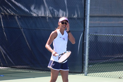 American River College's Addie Ramos reacts to a missed shot during a game against Santa Rosa Junior College on March 16, 2016. Ramos and her partner Kiana Brown lost their match. (Photo by Mack Ervin III)