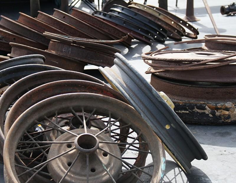 Rows of rusted wheels at the 56th annual Northern Califoria Regional Group Horseless Carriage Club of America swap meet held at American River College on April 24, 2016. Items both old and new were sold at the swap meet. (Photo by Matthew Nobert)