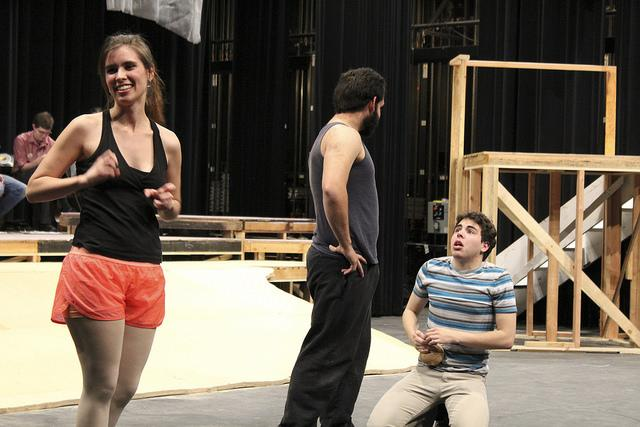 from left) Angelina Steshenko, Joel Burnitzki, and Emmanuel Jimenez rehearse a scene for the Tempest at the American River College main theater on April 1, 2016. (Photo by Robert Hansen)
