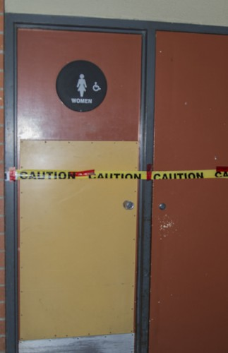 Caution tape was placed on the entrance to the women's restroom in the Liberal Arts breezeway while the Sacramento County Sheriff's Department investigated the area following a sexual assault claim first reported to the Los Rios Police Department. The two students involved in the incident may have known each other prior to the situation occurring, according to ARC public information officer Scott Crow. (Photo by Joe Padilla)