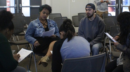 A subgroup of students participate in discussion at a brave space meeting on March 31. (Photo by Allante Morris)