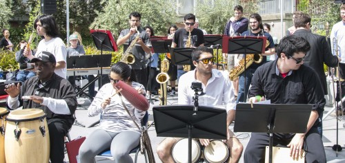 American River College's Latin Jazz Ensemble performs at the Multi Cultural Event in the quad area on April 12. (Photo by Joe Padilla)