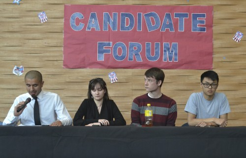 ASB election candidates Julian Lopez, Mary Stedman, Justin Nicholson, and Kevin Phan sit during the Candidate Forum at American River College on April 5. Unofficial election results show that they were all elected to the offices they ran for. (Photo by Sharriyona Platt)