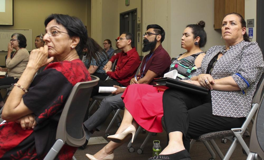 Faculty members and students from American River College attend a panel organized by UNITE on April 6 to hear the stories from Magdalena Loredo, Claudia Amaro and Jill Anderson (via Skype) about their experience as DREAMers in the US and Mexico. (Photo by Itzin Alpizar).