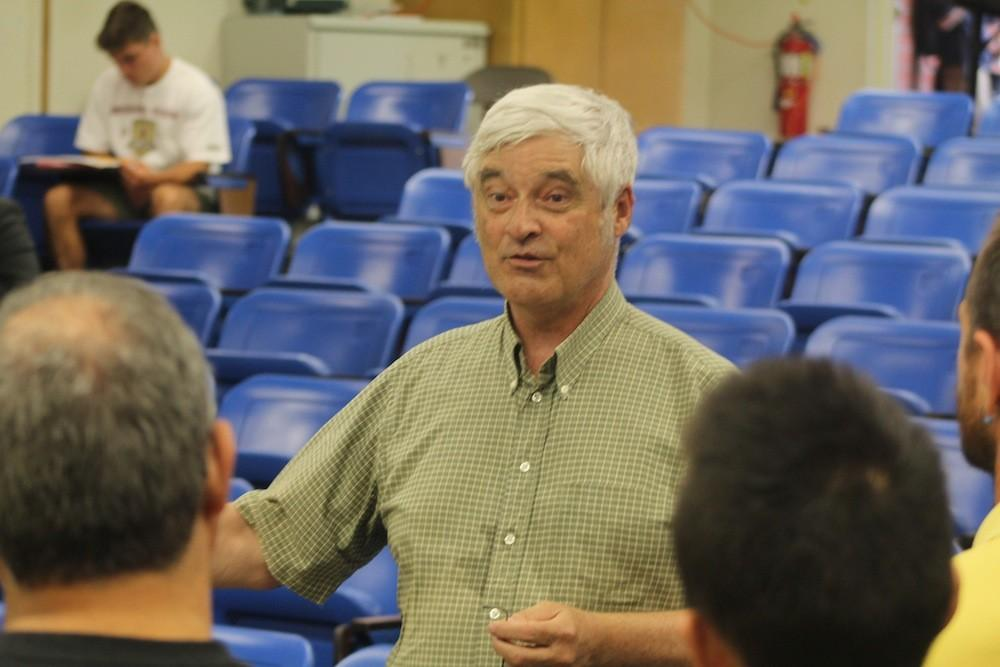 Steve Running, who earned his doctorate in forest ecophysiology, answers questions from students and faculty following a lecture on the effects on climate change and new developments in energy in Raef Hall at American River College on April 21, 2016. Running was part of the Intergovernmental Panel on Climate Change, which was awarded a Nobel Peace Prize in 2007. (Photo by Mack Ervin III)