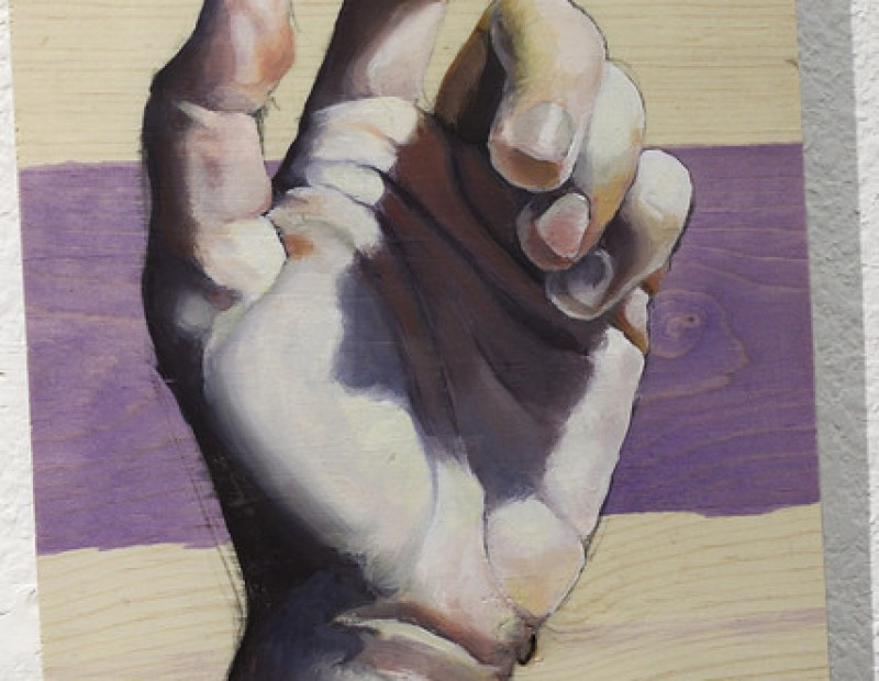 """Dominant Hand"" by Andrea Arnott being displayed at the student art show at the James Kaneko Gallery at American River College in Sacramento, California on April 26. The show runs from April 25 to May 11. (Photo by Hannah Darden)"