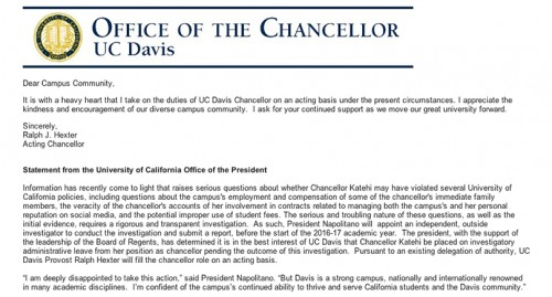 UC Davis chancellor Linda Katehi was placed on investigatory administrative leave following allegations that she violated several University of California policies. UCD provost Ralph Hexter will fill in as acting chancellor. (Screengrab from email sent to UCD faculty, students and staff)
