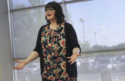Life coach Barbie Paget lead her audience in a breathing exercise during her stress management workshop on April 27.  (File photo)