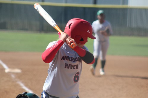 American River College shortstop Sara Cater prepares to swing during a game against Diablo Valley College on April 23, 2016 at ARC. ARC won 7-6. (Photo by Mack Ervin III)