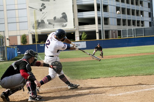 American River College catcher Joaquin Sequeira hits the ball during a game against Sierra College at ARC stadium on April 7,2016. The Beavers lost the game 9-3. (Photo by Itzin Alpizar)