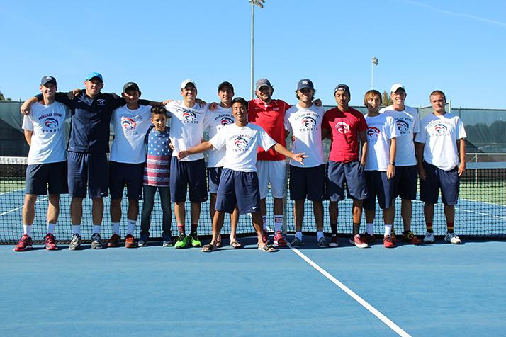 The American River College men's tennis team pose for a picture after beating Foothill College 5-2 to become NorCal Champions on April 16, 2016 at ARC. This team was the first NorCal Champions from ARC since 1966. (Photo by Mack Ervin III)