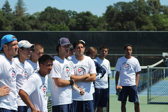 American River College's men's tennis team stands before their match against Foothill College at the NorCal Tournament Final on April 16, 2016 at ARC. ARC went on to win and become NorCal Champions. (Photo by Mack Ervin III)