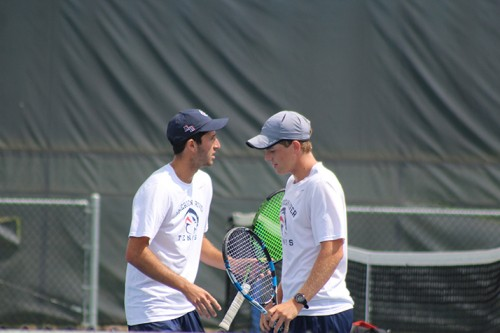 American River College doubles partners TJ Aukland and Justin Barton high five during a match against Chabot College on April 12, 2016 at ARC. Aukland and Barton won their match 8-2. (Photo by Mack Ervin III)