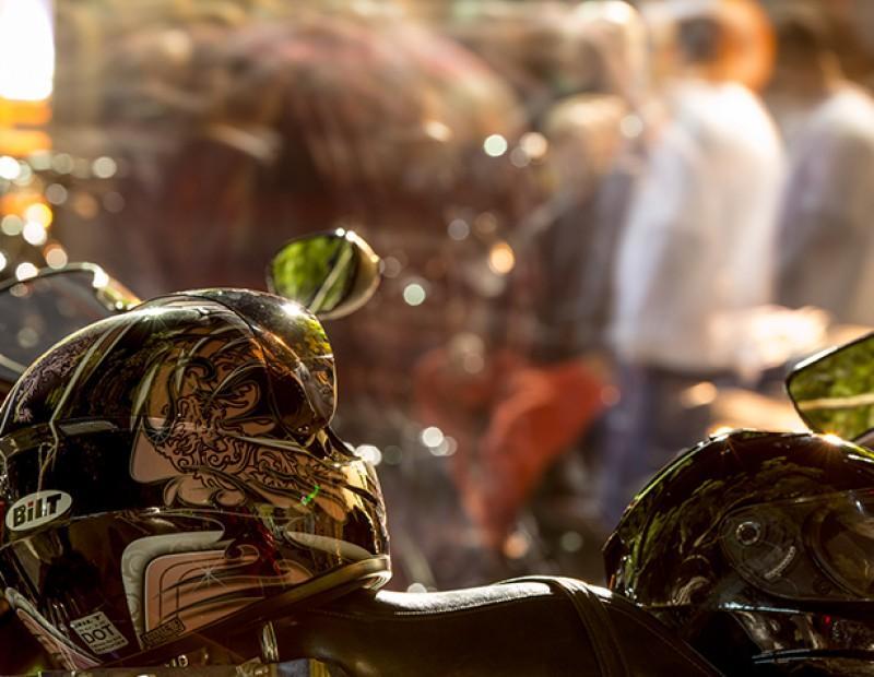 A detail shot of a BiLT helmet at a local motorcycle meet in Sacramento, California. (Photo by Kyle Elsasser)