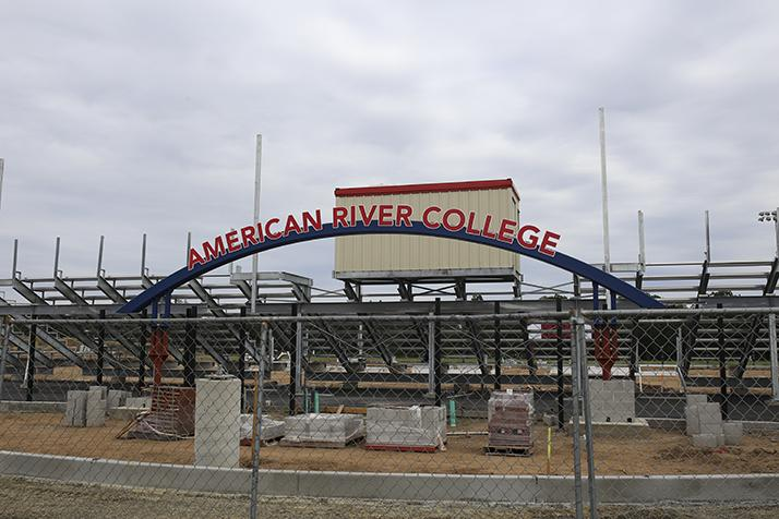 Construction of the entrance to the new American River College soccer stadium. The stadium will be completed in the the fall of 2016 and will seat 1000. (Photo by Kyle Elsasser)