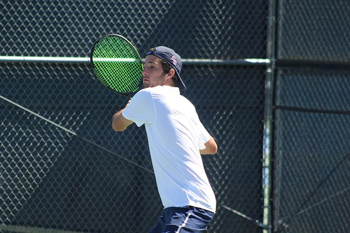 American River College's TJ Aukland prepares to swing at a ball during a game against Santa Rosa Junior College on March 15, 2016 at ARC. Aukland and his partner Cody Duong won the game 8-1.(Photo by Mack Ervin III)