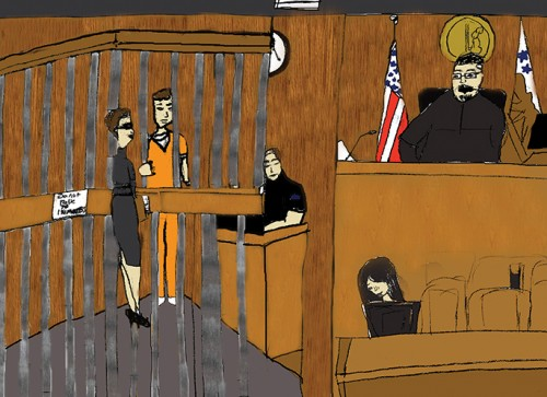 A courtroom sketch of Chris Hirtzel at his hearing on Tuesday. The hearing was pushed back to May 24 as the DA looks to add a rape charge. Cameras were not allowed in the courtroom. (Courtroom illustration by Allante Morris)