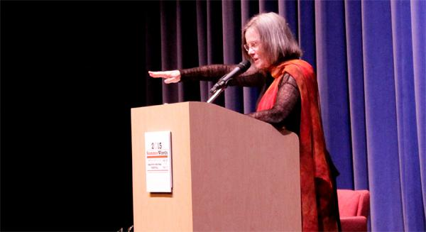 Renowned poet Carolyn Forche recites her poetry during her keynote speech at SummerWords in 2015. This year's event will take place from May 26 through May 29 and the keynote speaker will be best-selling author Luis Alberto Urrea. (File photo)