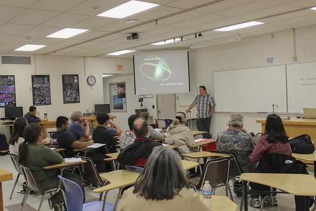 Astrophotographer Ken Crawford presents his photos and the science behind them at his lecture  on April 27.  (Photo by Hannah Darden)