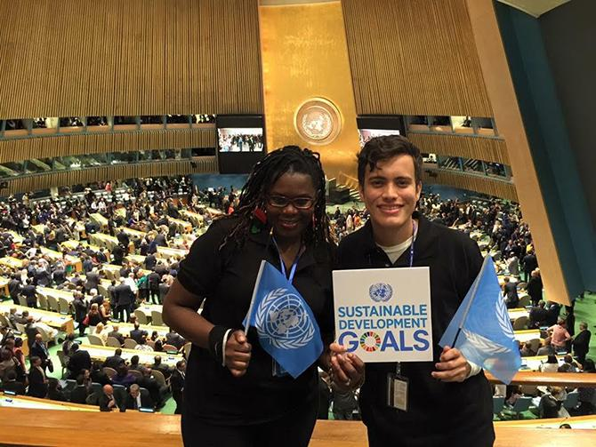 Edna+Simbi+stands+with+her+friend+Juan+Pablo+Celis+Garcia+at+the+United+Nations.+Simbi%2C+a+former+ARC+student%2C+came+to+the+U.S.+on+asylum+in+2010.+%28Photo+courtesy+of+Edna+Simbi%29