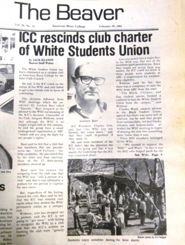 "The Beavers, ARC's student newspaper in the 80s, confirms in a story written by Jack Keaton that the White Student Union club, which was ran by Gregory Withrow had eliminated from ARC campus on Jan. 6, 1981. Withrow's name was on letters left in cars in a neighborhood in downtown Sacramento on May 3, 2016 that called for people to ""execute all Muslims and Latinos."" (Photo by Itzin Alpizar)"